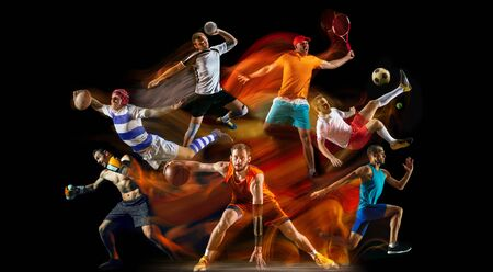 Creative collage of unrecognizable models running and jumping. Advertising, sport, healthy lifestyle, motion, activity, movement concept. American football, soccer, tennis volleyball box badminton rugby