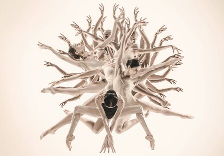 The group of modern ballet dancers like a tree. Contemporary art ballet. Young flexible athletic people in tights. Copyspace. Concept of dance grace, inspiration, creativity. Made of shots of 5 models.
