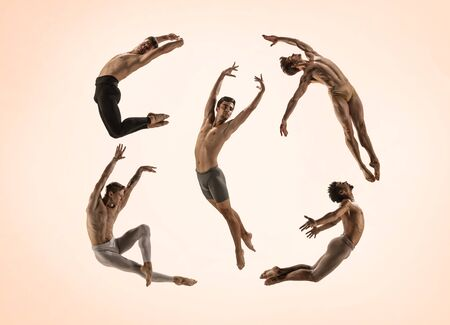 The group of modern ballet dancers. Contemporary art ballet. Young flexible people in tights. Copyspace. Concept of dance grace, inspiration, creativity. Made of shots of 5 models. Фото со стока