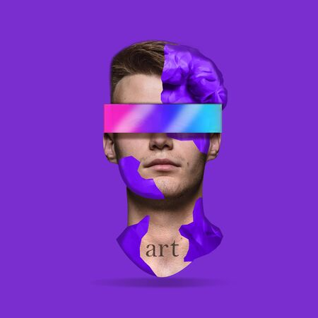 Human of art. Male head with gradients element. Looking of world throught the glass. Negative space to insert your text. Modern design. Contemporary colorful and conceptual bright art collage.