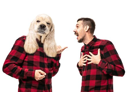 Portrait of man arguing with himself as a dog on white studio background. Concept of human emotions, expression, mental issues, internal conflict, split personality. Copyspace. Scream. Reklamní fotografie