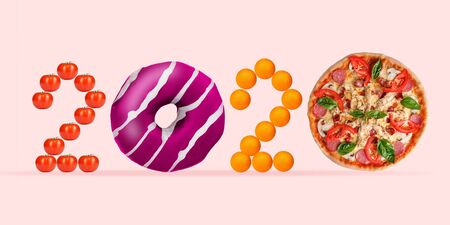2020 made from unhealthy food on coral background. Pink glazed donut and pizzas slices, tomatos and oranges. Copyspace, nutrition and delicious eating. New Years and Merry Christmas concept.
