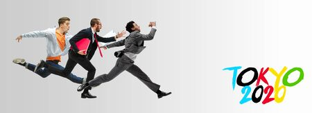 Happy office workers jumping and dancing in casual clothes or suit with folders on white. Ballet dancers just hurrying up to Tokyo in summer 2020. Ready for cheering and competition, sport concept.