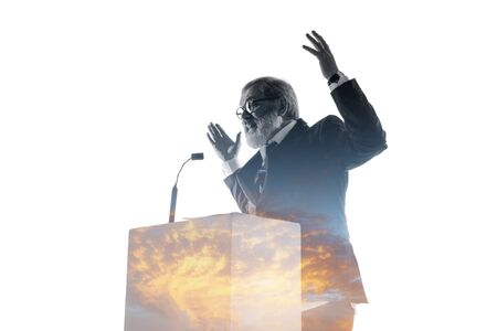 Speaker, coach or chairman during politician speech isolated on white background. Double exposure - truth and lies. Business training, speaking, promises, economical and financial relations. Stock fotó