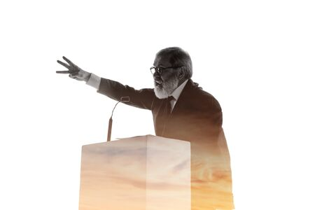 Decision. Speaker, coach or chairman during politician speech isolated on white background. Double exposure - truth and lies. Business training, speaking, promises, economical and financial relations.