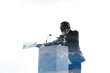 Proof. Speaker, coach or chairman during politician speech isolated on white background. Double exposure - truth and lies. Business training, speaking, promises, economical and financial relations. Stock fotó