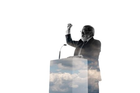 Speaker, coach or chairman during politician speech isolated on white background. Double exposure - truth and lies. Business training, speaking, promises, economical and financial relations.