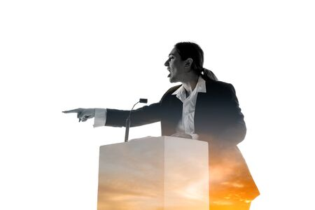 Pressure. Speaker, coach or chairwoman during politician speech isolated on white background. Double exposure - truth and lies. Business training, speaking, promises, economical and financial relations.