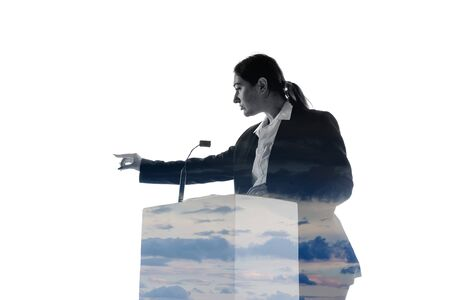 Calm. Speaker, coach or chairwoman during politician speech isolated on white background. Double exposure - truth and lies. Business training, speaking, promises, economical and financial relations.