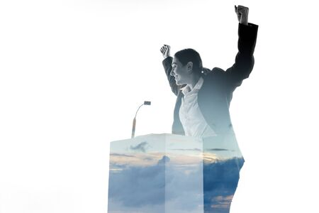 Leader. Speaker, coach or chairwoman during politician speech isolated on white background. Double exposure - truth and lies. Business training, speaking, promises, economical and financial relations.