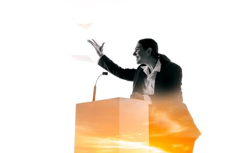 Angry. Speaker, coach or chairwoman during politician speech isolated on white background. Double exposure - truth and lies. Business training, speaking, promises, economical and financial relations. Stock fotó