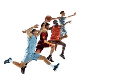 Young caucasian sportsmen running and jumping on white studio background. Concept of sport, movement, energy and dynamic, healthy lifestyle. Training, practicing. Flyer for your ad.