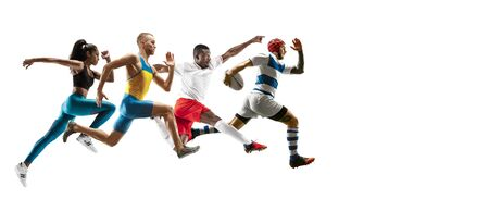 Young caucasian sportsmen running and jumping on white studio background. Concept of sport, movement, energy and dynamic, healthy lifestyle. Training, practicing. Flyer for your ad. Banque d'images - 134839225