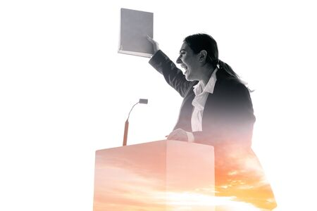Speaker, coach or chairwoman during politician speech isolated on white background. Double exposure - truth and lies. Business training, speaking, promises, economical and financial relations. Stock fotó