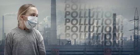 Caucasian little girl wearing the respiratory protection mask against air pollution, dust particles exceed the safety limits because of fuming factories. Healthcare, environmental, ecology concept. Stok Fotoğraf
