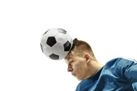 Close up of emotional caucasian man playing soccer hitting the ball with the head on isolated white background. Football, sport, facial expression, human emotions, healthy lifestyle concept. Copyspace.