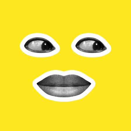 Collage in magazine style on bright yellow background. Female lips and eyes forming face black and white colored with contour. Modern design, creative artwork, style and human emotions concept. Stunning.