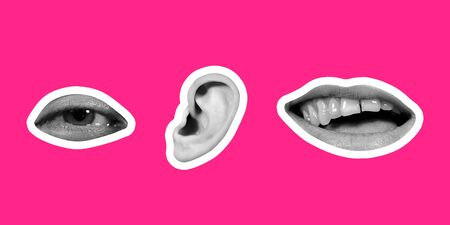 Collage in magazine style on bright pink background. Female lips, ear and eye black and white colored with contour. Modern design, creative artwork, style and human emotions concept. Flyer for ad. Stock Photo