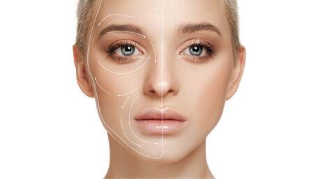 Schönes weibliches Gesicht mit dem Anheben der Pfeile lokalisiert auf weißem Hintergrund. Konzept der Körperpflege, Kosmetik, Hautpflege, Korrekturchirurgie, Schönheit und perfekte Haut. Flyer für Ihre Anzeige. Antialterung.