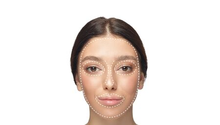 Beautiful female face with lifting up arrows isolated on white background. Concept of bodycare, cosmetics, skincare, correction surgery, beauty and perfect skin. Flyer for your ad. Antiaging. Stock fotó