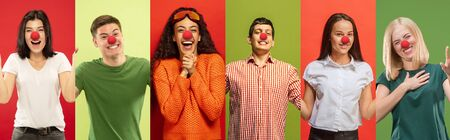 Collage of happy young people as a clowns celebrating red nose day. Male and female models on multicolored studio background. Celebrating, greeting, holidays concept. Human facial emotions.