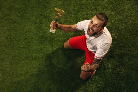 Top view of caucasian football or soccer player on green background of grass. Young male sportive model celebrating win with champions cup, emotional screaming. Concept of sport, competition, winning. 스톡 콘텐츠