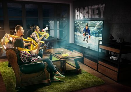 Group of friends watching TV, hockey match, championship, sport games. Emotional men and women cheering for favourite hockey team of teens. Concept of friendship, sport, competition, emotions.