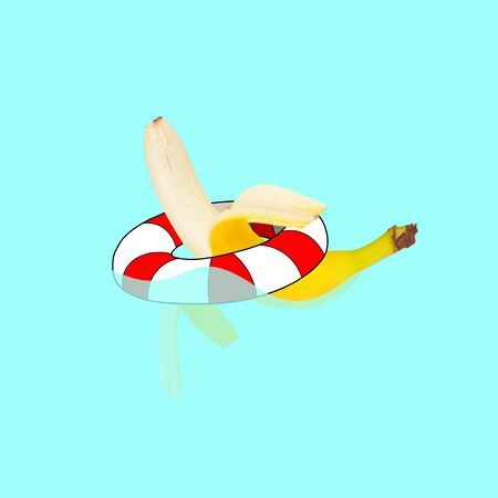 Banana swimming in swimring on blue water pool background. Copyspace for your proposal. Modern design. Contemporary artwork, collage. Concept of vacation, holidays, organic world, food, fruits.