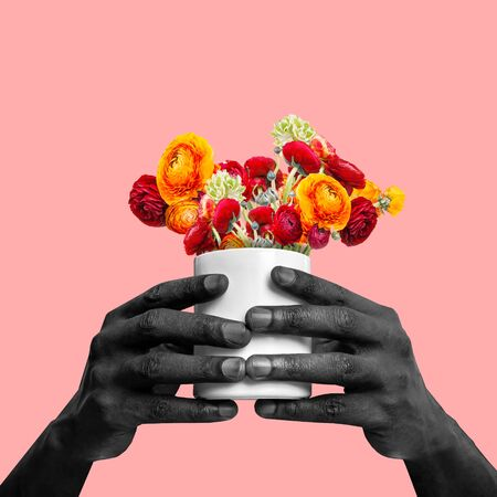 Hands of african-american man holding flowers on coral background. Copyspace for your proposal. Modern design. Contemporary artwork, collage. Concept of fashion, beauty, gift, spring, summer. Stockfoto