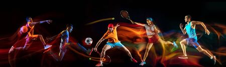 Creative collage of sportsmen in mixed and neon light on black background. Flyer for advertising or proposal. Motion, action, sport, reaching target concept. Tennis, soccer, basketball, badminton, run. Stock Photo