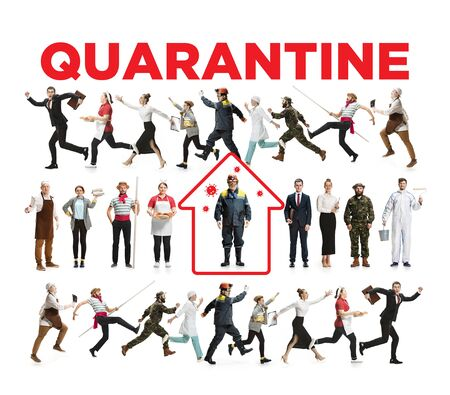 Workers of different professions keeping quarantine against corovanirus spreading. Protection against pneumonia chinese virus epidemy, pandemic. Stay home if you feel sick. Prevention, safety concept.