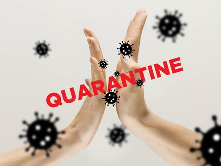 Human hands shaking, avoid greeting while coronavirus epidemic - concept of spreading of virus. Danger way of epidemic. Caution, outbreak alert. Stay safe. Prevention, safety, pandemic spread concept.