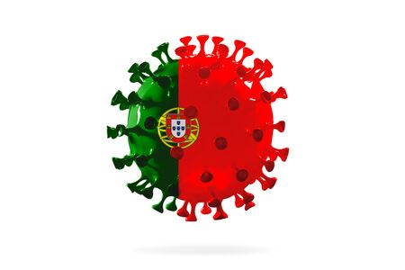 Model of COVID-19 coronavirus colored in national Portugal flag, concept of pandemic spreading, medicine and healthcare. Worldwide epidemic with growth, quarantine and isolation, protection. Foto de archivo