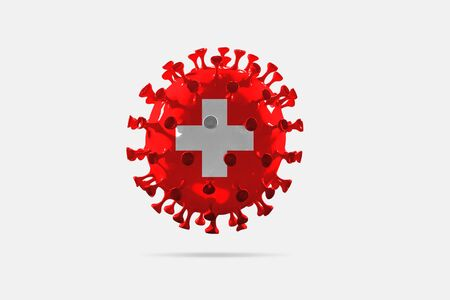 Model of COVID-19 coronavirus colored in national Switzerland flag, concept of pandemic spreading, medicine and healthcare. Worldwide epidemic with growth, quarantine and isolation, protection.