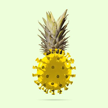 Pineapple made of model of COVID-19 coronavirus, concept of pandemic spreading, medicine and healthcare. Worldwide epidemic with growth, quarantine and isolation, protection, crisis situation. Foto de archivo