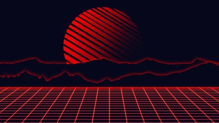 Beautiful mountain evening, synth wave and retro wave, vaporwave futuristic aesthetics. Ultraviolet, glowing neon style. Stylish poster, purpose flyer, bright colors and geometric lines. Resort, chill. 版權商用圖片