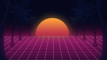 Beautiful beach evening, synth wave and retro wave, vaporwave futuristic aesthetics. Ultraviolet, glowing neon style. Stylish poster, purpose flyer, bright colors and geometric lines. Resort, chill. Archivio Fotografico