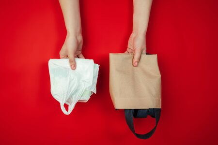 Shopping bags. Eco-friendly life - organic made recycle kitchenware in compare with polymers, plastics analogues. Home style, natural products for recycle and not harmful to the environment and health.
