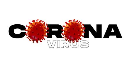 Model of COVID-19 in word CORONA on white background, concept of pandemic spreading, virus 2020, medicine, healthcare. Worldwide epidemic with growth, quarantine and isolation, protection. Copyspace.
