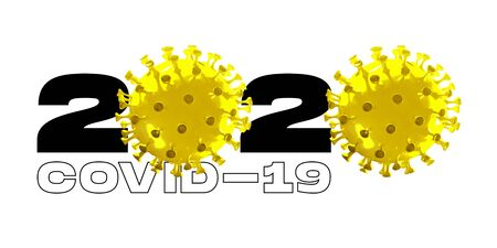 Model of COVID-19 in 2020 on white background, concept of pandemic spreading, virus 2020, medicine, healthcare. Worldwide epidemic, quarantine and isolation, protection, pevention. Copyspace.