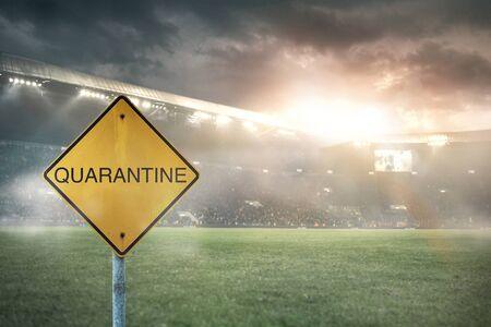 Stadium canceled because of COVID-19 spreading, epidemic, pandemic. Quarantine, isolation concept.
