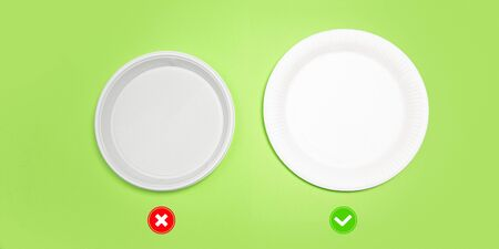 Plates. Eco-friendly life - organic made recycle things in compare with polymers, plastics analogues. Home style, natural products for recycle and not harmful to the environment and health.