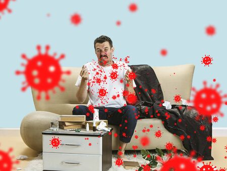 Caucasian man sneezing, illustration of virus spreading, stop epidemic. Ill and fever, headache. Human emotions, sales, healthcare and medicine concept. Stop epidemic. Self-insulated, feels sick. Stok Fotoğraf