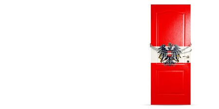 Door colored in Austria national flag, locking with chain. Countries lockdown during coronavirus, COVID spreading. Concept of medicine and healthcare. Worldwide epidemic, quarantine. Copyspace. Foto de archivo