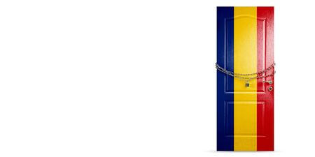 Door colored in Romania national flag, locking with chain. Countries lockdown during coronavirus, COVID spreading. Concept of medicine and healthcare. Worldwide epidemic, quarantine. Copyspace.