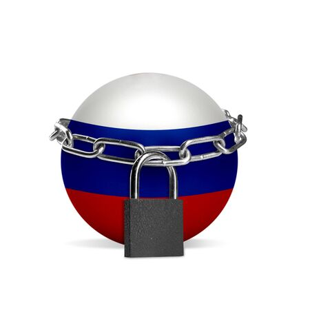 Planet colored in Russia national flag, locking with chain. Countries lockdown during coronavirus, COVID spreading. Concept of medicine and healthcare. Worldwide epidemic, quarantine. Copyspace.