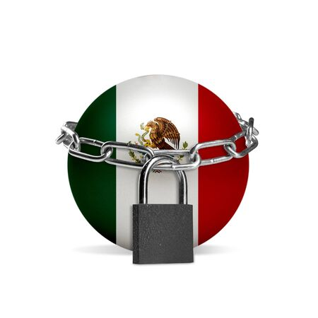 Planet colored in Mexico national flag, locking with chain. Countries lockdown during coronavirus, COVID spreading. Concept of medicine and healthcare. Worldwide epidemic, quarantine. Copyspace. Foto de archivo