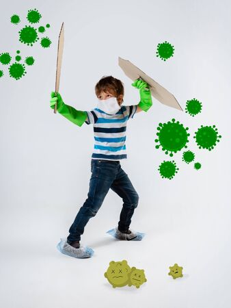 Little caucasian boy as a warrior in fight with coronavirus pandemic, bright design with cute and funny cartoons style drawings. Teenboy in war for human lives. Concept of childhood, health, winning.