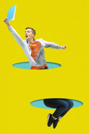 Office man jumping high. A person jumping throught blue papers cutouts on yellow background. Dream, paperworld. Cutout of paper. Contemporary colorful and conceptual art collage with copyspace. Zdjęcie Seryjne - 147817942