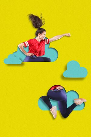 Sportive woman jumping high. A person flying higher than blue clouds on yellow sky background. Dream, paperworld. Cutout of paper. Contemporary colorful and conceptual art collage with copyspace.